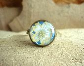 SALE 30% OFF Japanese Chiyogami Paper Vintage Ring Handmade Exclusive Design Image  - Antique Bronze Color - Hawaii Flower image
