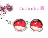 Butterfly Wings Red Romantic Dangle Hoop Earring Vintage with Glass, Platinum Color Special Gift By Tofashi Chiyogami Paper Yuzen image