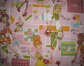 """3 Yds - Alexander Henry """"City Girls"""" Cotton Fabric - Reserved for Marcella"""