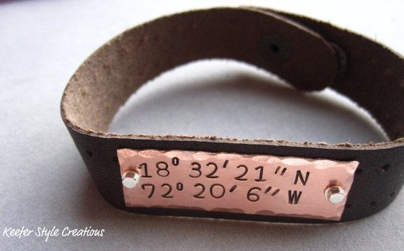 Hand Stamped Longitude/Latitude coordinates Haiti copper cuff leather bracelet