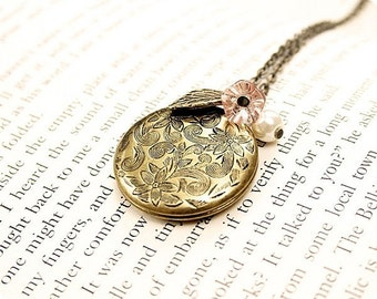 Round Floral Locket, Antiqued Brass, Cream Pearl, Pink Glass Flower, 24 Inch Chain