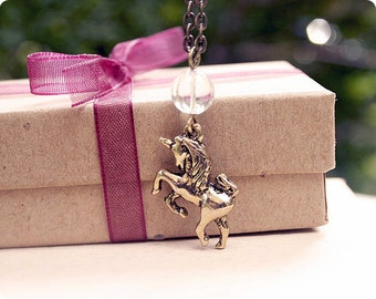 Whimsical Unicorn Necklace, Antique Gold, 20 Inch Chain