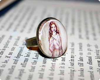 Alice Ring, Adjustable, Antique Gold Brass, Alice in Wonderland