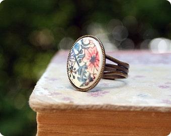 Vintage Spring Floral Ring, Antique Bronze