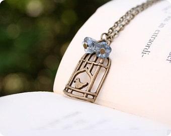 Caged Bird Necklace, Antique Brass, 18 Inch Chain