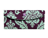 Eggplant and Mint Damask  Long Wallet, Clutch, bill size