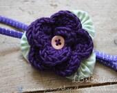 Crochet Flower Headband / Barrette in Baby Berry Purple with Green Yo Yo's / Suffolk Puffs