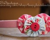 Yo Yo Headband - Pink and Blue Floral and Gingham Decoration