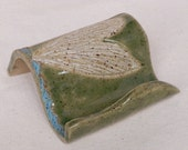 Business Card Holder with DRAGONFLY Stoneware Clay Celadon GREEN
