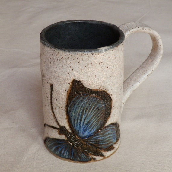 Stoneware  Extra-Large Coffee MUG or Beer Stein with Butterflies