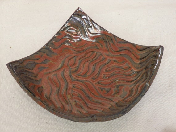 Stoneware  Bowl, SOAP DISH or Spoon Rest  Handcarved  Abstract Design