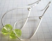 Yellow Faceted Glass Beads on Teardrop Hoops