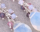 Violet Sunset Seas Opalite and Crystal Dangle Earring with Sterling Silver-Fancy Fringe