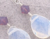 Violet Sunset Seas Opalite and Crystal Earring with Sterling Silver-Simply Elegant