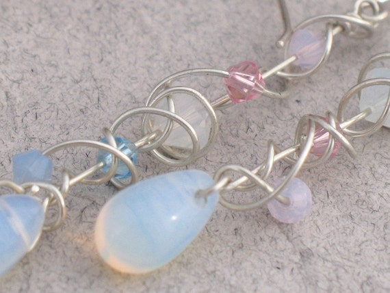 Beach Baby Opalite and Crystal Random Spiral Dangle Earring with Sterling Silver