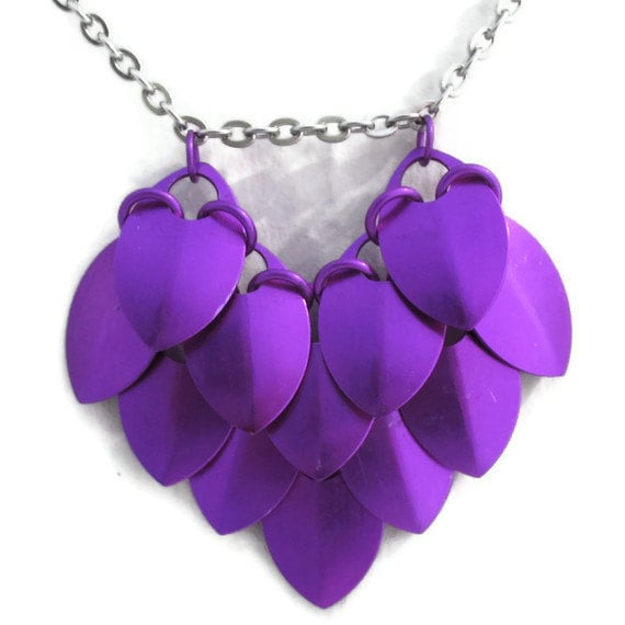 Violet Dragon Heart Necklace Scale Chainmaille Anodized Aluminum & Steel