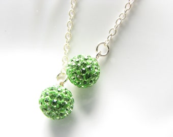 Green crystal dangle earrings bright green globe dangle earrings sterling silver bridal wedding gift for bridesmaids special occasion