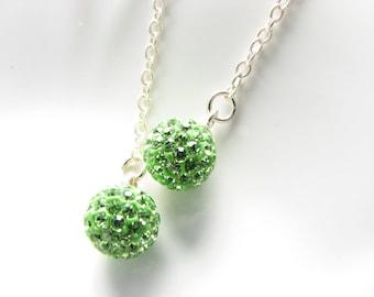 Long Green Silver Dangle Earrings Ball Sphere Earrings Disco Ball Green Rhinestones Uner 25 Bright Green Globe Gift for Women Simple Jewelry