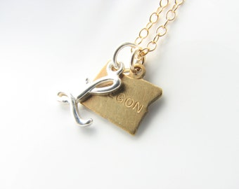 Choose Your State Charm + Initial Personalized Charm Necklace - all 50 states available Texas California New York Florida...