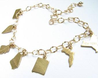 Personalized state charm bracelet jewelry
