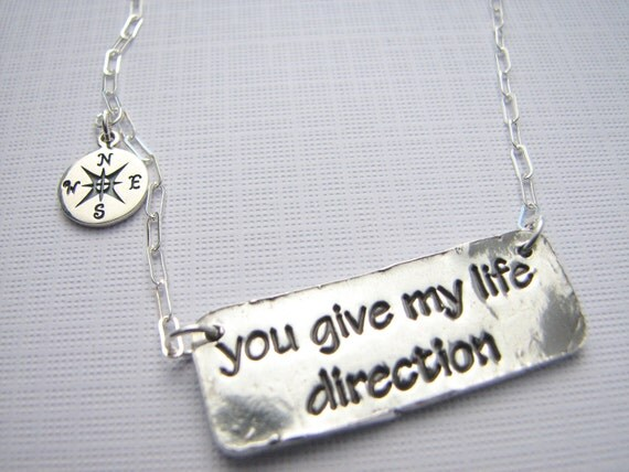 Romantic necklace you give my life direction compass necklass sterling silver