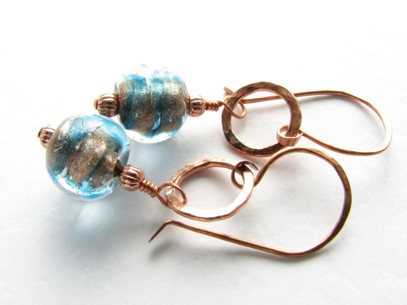 teal blue and copper dangle earrings with vintage glass Italian aventurina beads