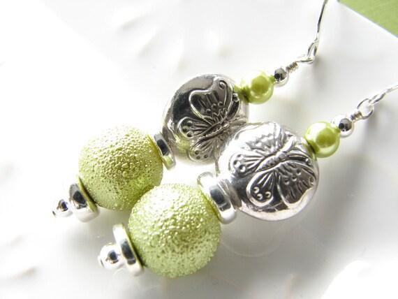 Green butterfly dangle earrings light green sterling silver