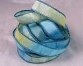 Hand Dyed Silk Ribbons - Hand Painted Jewelry Bracelet Wrap - Sun and Surf - Quintessence