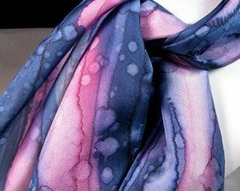 Scarf, Hand Painted Silk Scarf, Navy blue, raspberry pink -  Navy Raspberry Rain