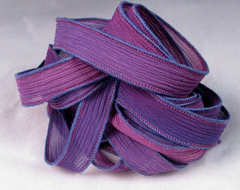 Hand Dyed Silk Ribbons - Crinkle Hand Painted Silk Jewelry Bracelet - Fairy Ribbons - Wild Aster