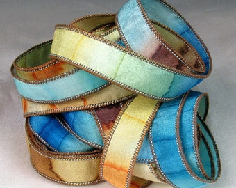 Hand Dyed Silk Ribbons - Hand Painted Jewelry Bracelet Wrap - Quintessence -  Seaside Summer
