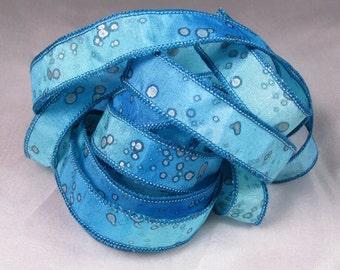 Hand Dyed Silk Ribbon Jewelry - Ribbon bracelet pendant Wrist wrap - Sea Sparkle