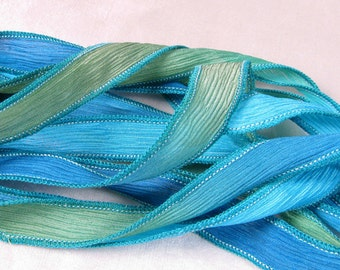 Silk Ribbon, Hand Dyed Silk Ribbons - crinkle ribbon  Bracelet, Fairy Ribbon, Boho Wrap - South Pacific