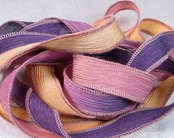 Hand Dyed Silk Ribbons - Crinkle Hand Painted Silk Jewelry Bracelet - Fairy Ribbons - Daybreak - Quintessence