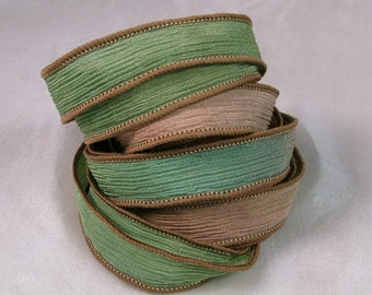 Hand Dyed Silk Ribbon - Crinkle Hand Painted Silk Jewelry Bracelet - Fairy Ribbons - Quintessence - Woodland Crinkle