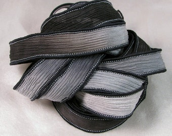 Hand Dyed Silk Ribbons - Crinkle Silk Jewelry Bracelet Fairy Ribbon - Quintessence - Black and Grey