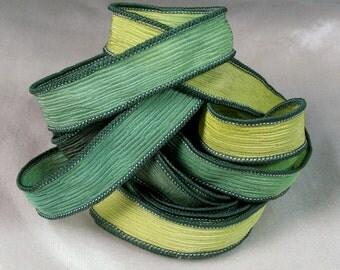 Hand Dyed Silk Ribbon - Crinkle Silk Jewelry Bracelet Fairy Ribbon - Green - Quintessence - Emerald Isle