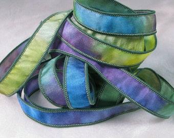 Hand Dyed Silk Ribbon - Hand Painted Jewelry Bracelet Wrap - Quintessence - Kaleidoscope