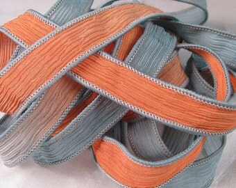 Hand Dyed Silk Ribbons - Crinkle Hand Painted Silk Jewelry Bracelet  - Quintessence Silk by Shauna Blake - Coral Grey