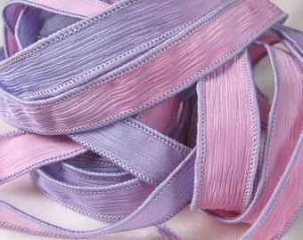 Silk Ribbons, Silk Wrist Wrap, Crinkle Ribbon, Hand Dyed Silk Ribbon Bracelet - Fairy Ribbons - Lavender Pink