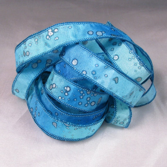 Hand Dyed Silk Ribbons Jewelry - Ribbon bracelet pendant Wrist wrap - Sea Sparkle
