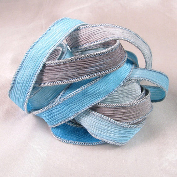 Hand Dyed Silk Ribbons - Serenity Crinkle Silk Jewelry Bracelet Fairy Ribbon - Quintessence - blue grey