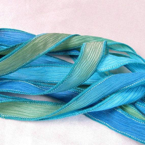 Silk Ribbon, Hand Dyed Silk Ribbons - crinkle ribbon  Bracelet, Fairy Ribbon, Boho Wrap - South Pacific