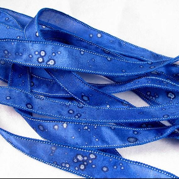 Hand Dyed Silk Ribbons Jewelry - Ribbon bracelet pendant Wrist wrap - Quintessence - Royal Blue Sparkle