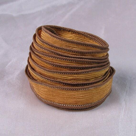 Hand Dyed Silk Ribbons - Crinkle Silk Ribbons - Canyon - Silk Jewlery Ribbon Bracelet wrisp wrap - Quintessence