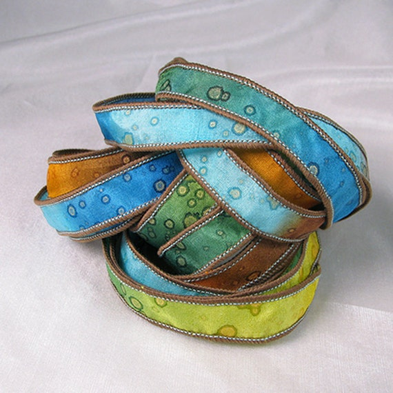 Hand Dyed Silk Ribbons Jewelry - Ribbon bracelet pendant Wrist wrap - Quintessence - Summer Sparkle