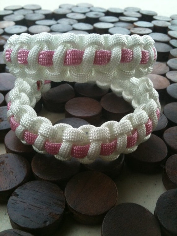 White with Pink Stripe Breast Cancer Awareness Survival Bracelet