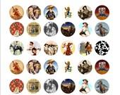 Cowgirl 1 Inch Circle Digital Collage