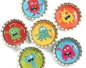 Little Monsters- Bottle Cap Magnets-Party Favors