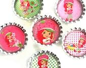 Strawberry Shortcake- Bottle Cap Magnets- Party Favors